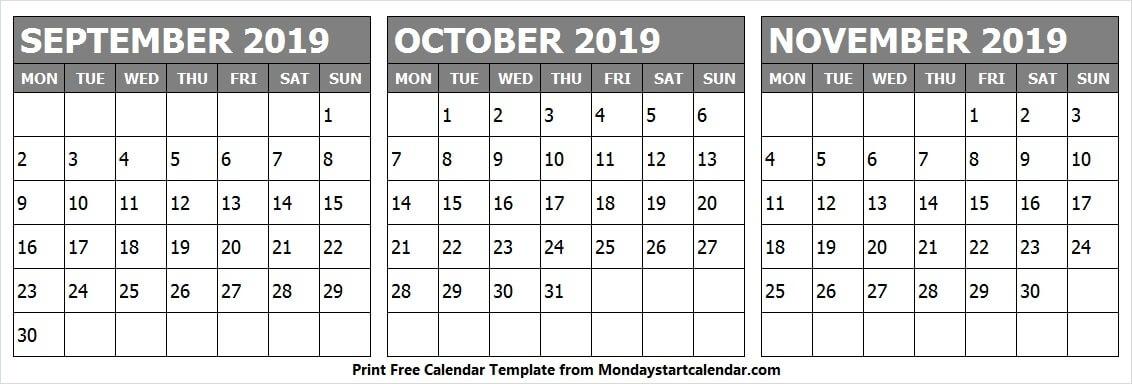 Fresh September October November 2019 Calendar