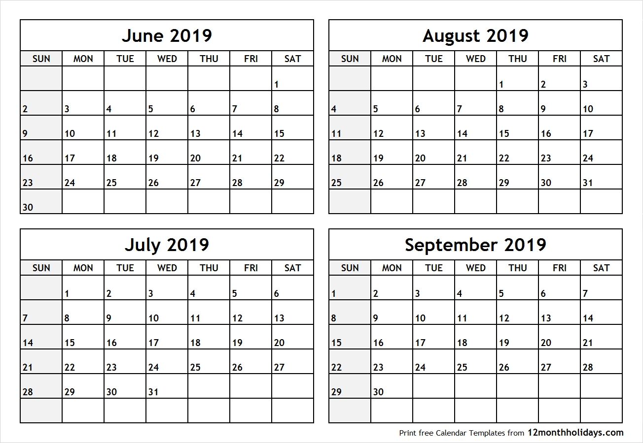 Blank June July August September 2019 Calendar