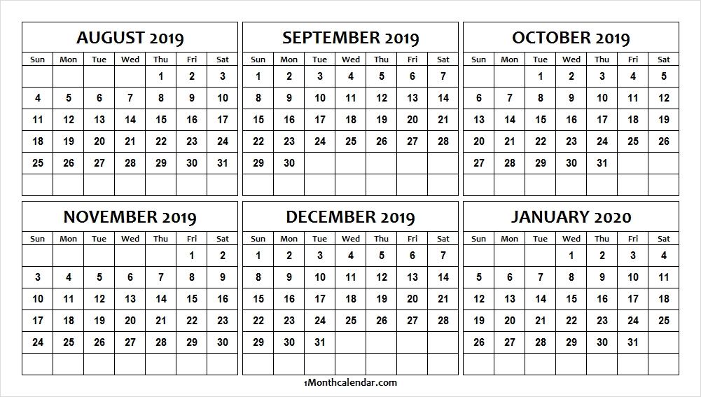 Printable August 2020 January 2020 Calendar