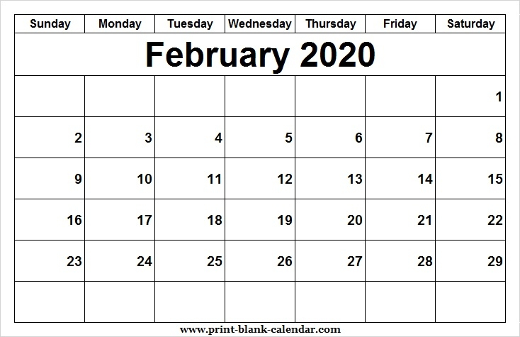 Print February 2020 Calendar