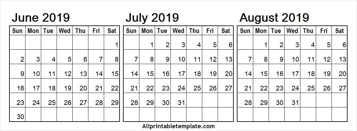 June To August 2019 Calendar Template
