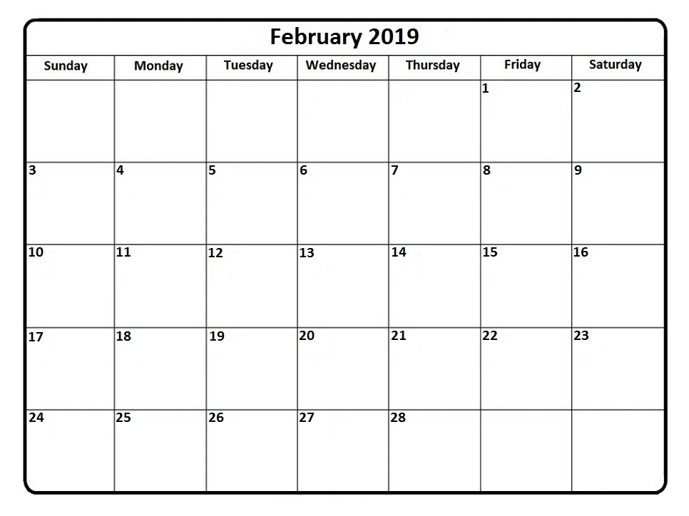 Printable February 2019 Calendar Pdf Free Template