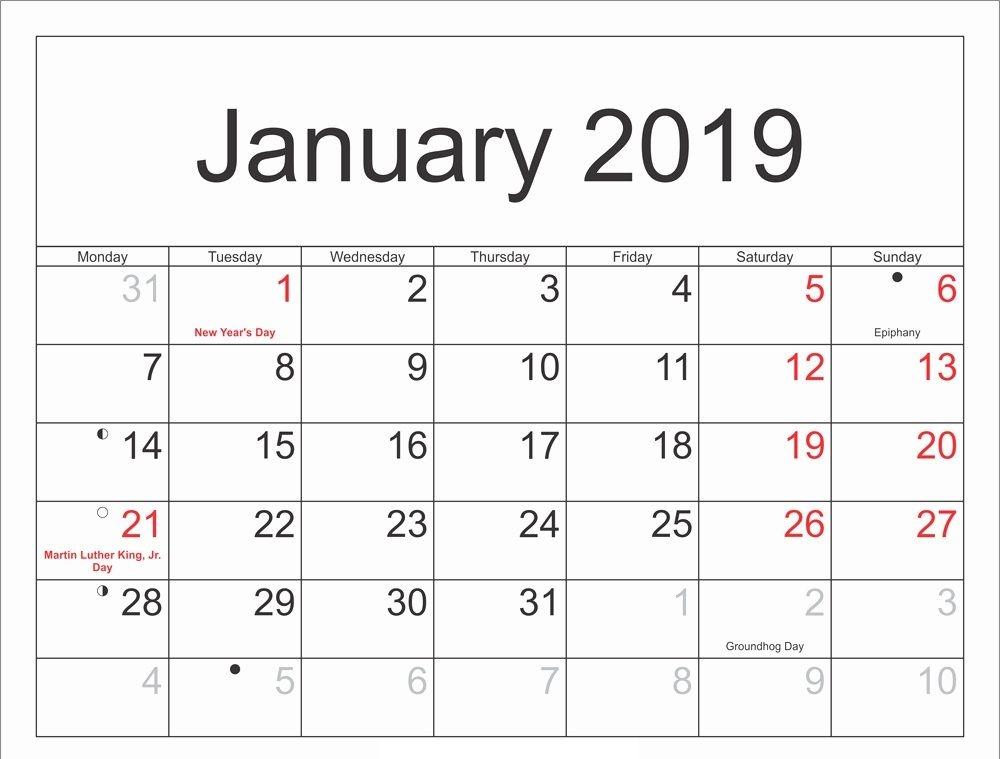 Moon Calendar 2019 January