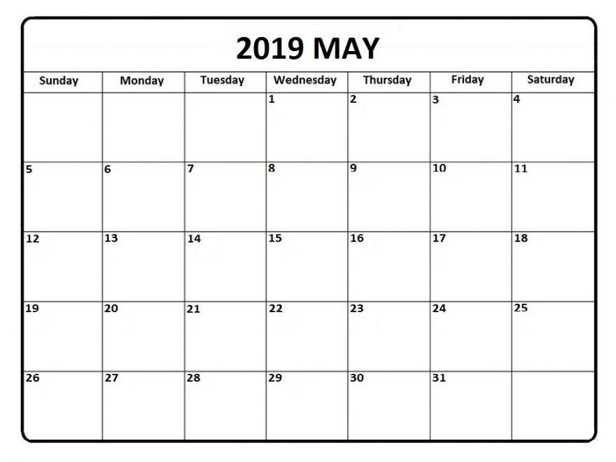 Blank May 2019 Calendar To Print