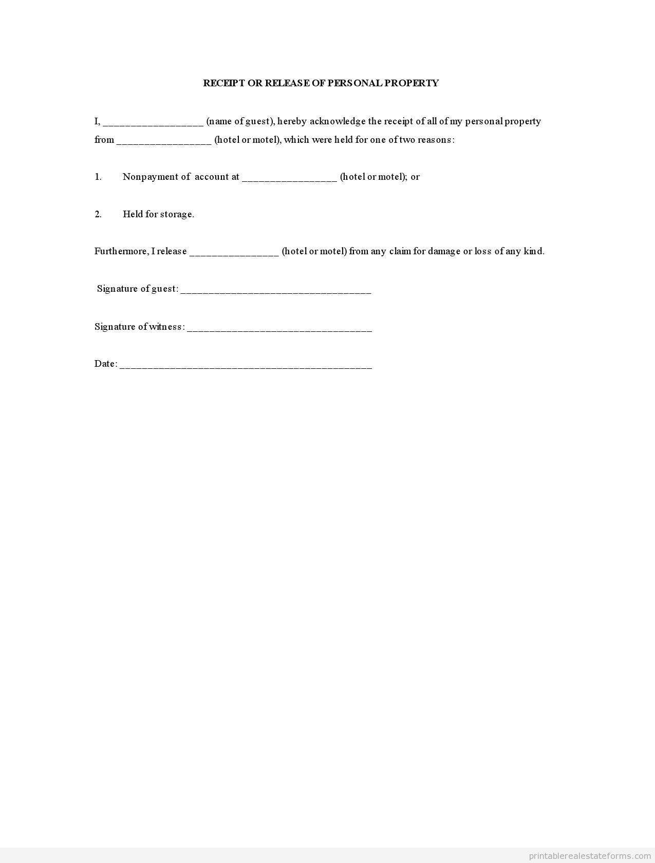 Personal Property Release Form Template