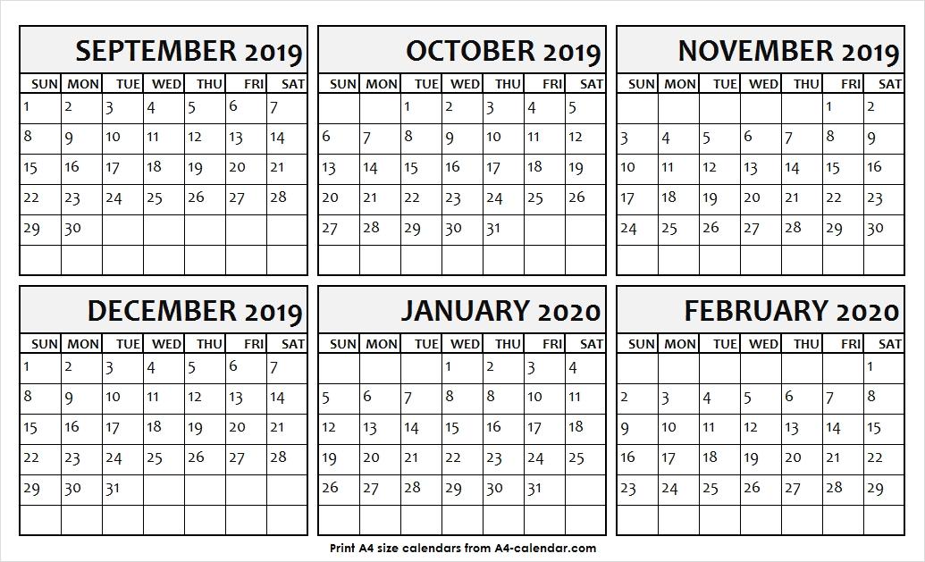 Sep Oct Nov Dec 2020 Jan Feb 2020 Calendar
