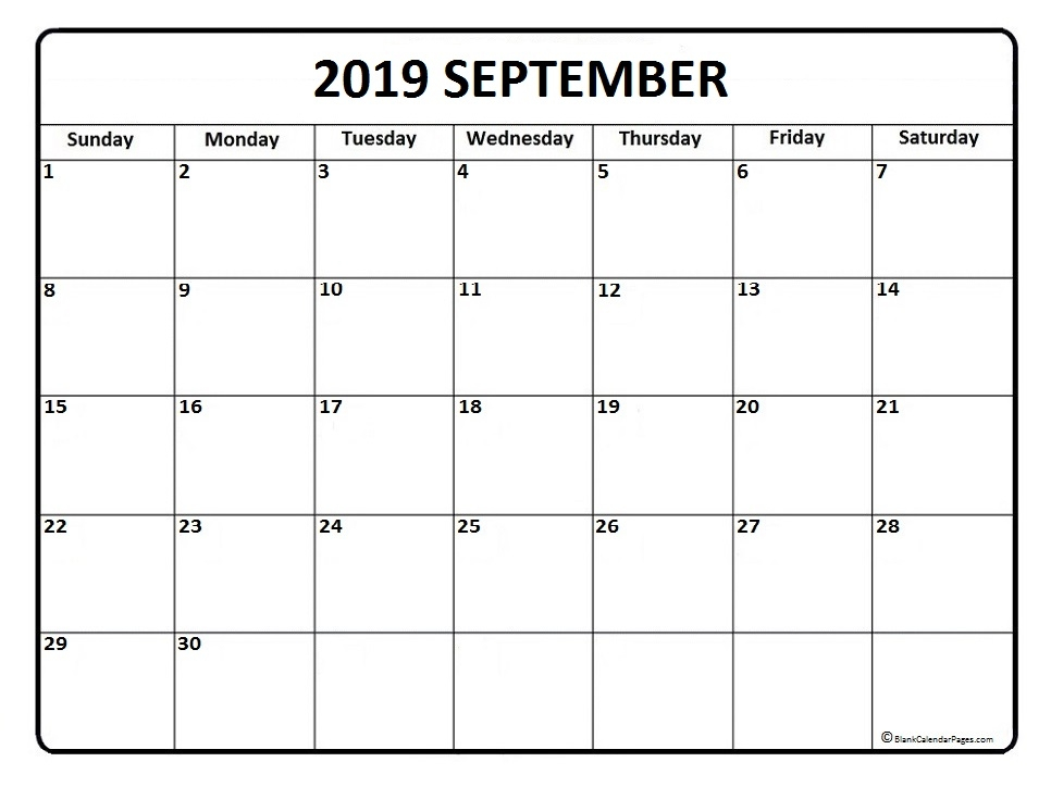 Month Of September Calendar 2019