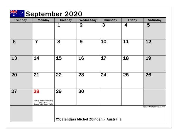 September 2020 Calendar Australia