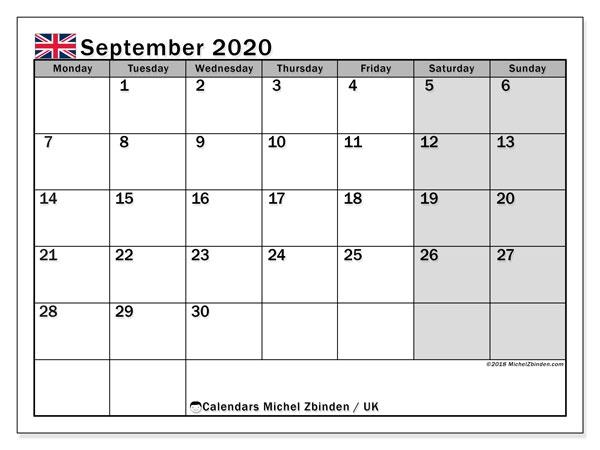 September 2020 Calendar Uk