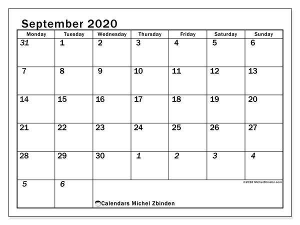 September Calendar For 2020