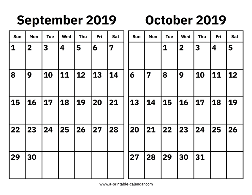 September To October 2019 Calendar