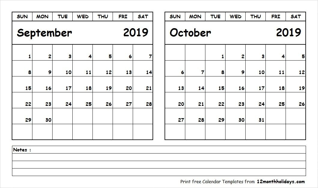 Free September October Calendar 2019