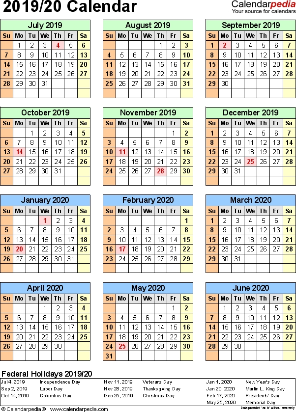 Half Year May October 2020 Calendar