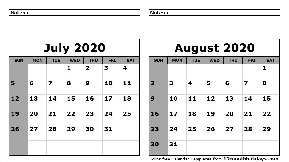 May June July Calendar 2020