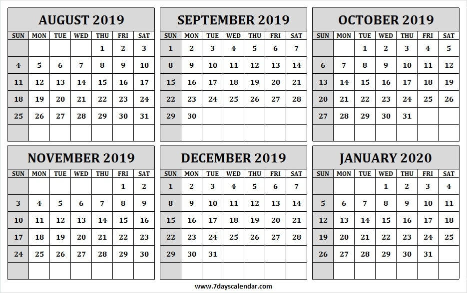 August 2019 January 2020 Half Year Calendar