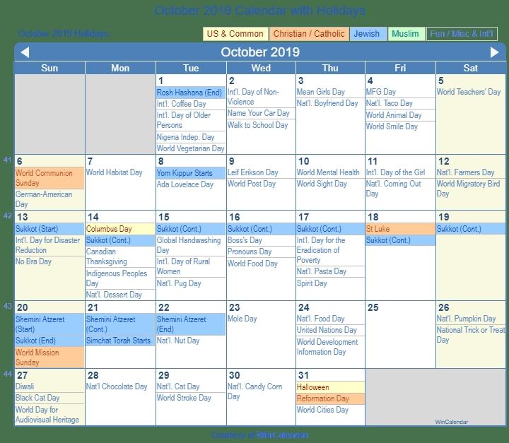 October Calendar 2019 With Holidays