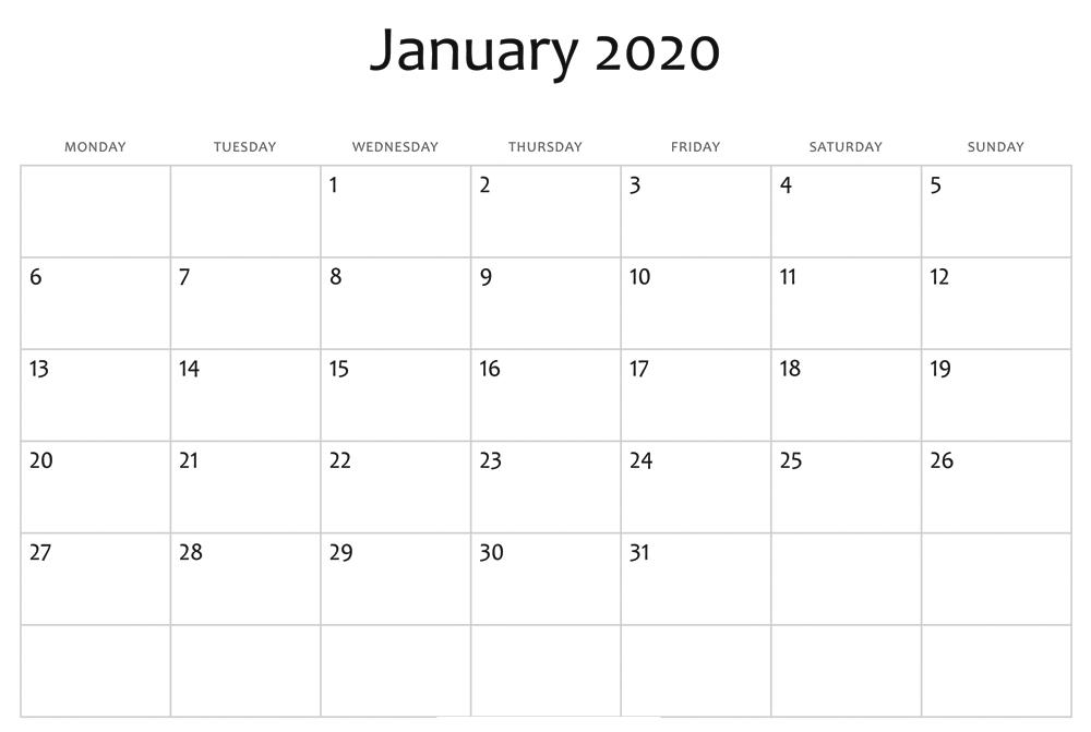 Editable January 2020 Calendar