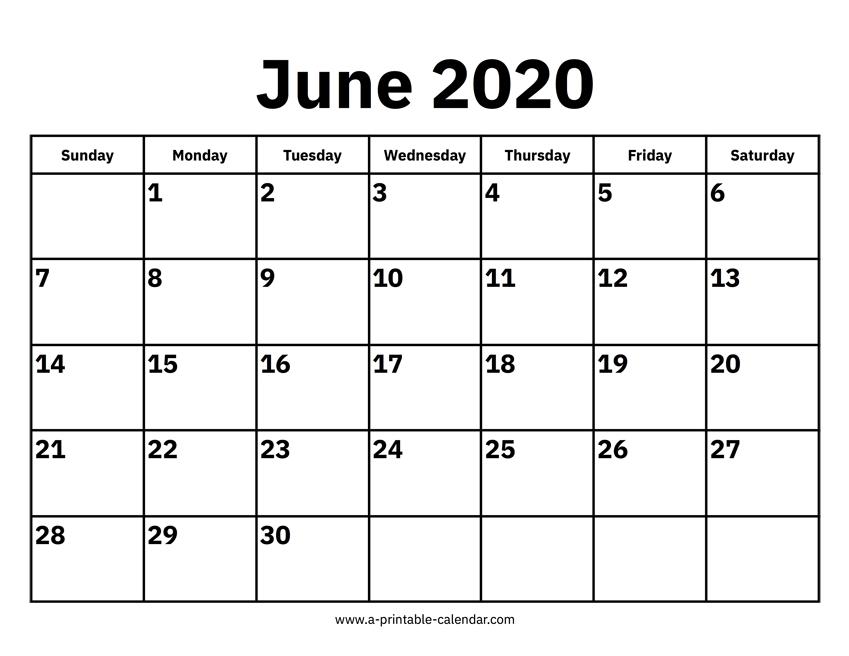 June 2020 Printable Calendar
