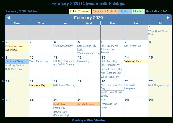 February 2020 Calendar With Holidays