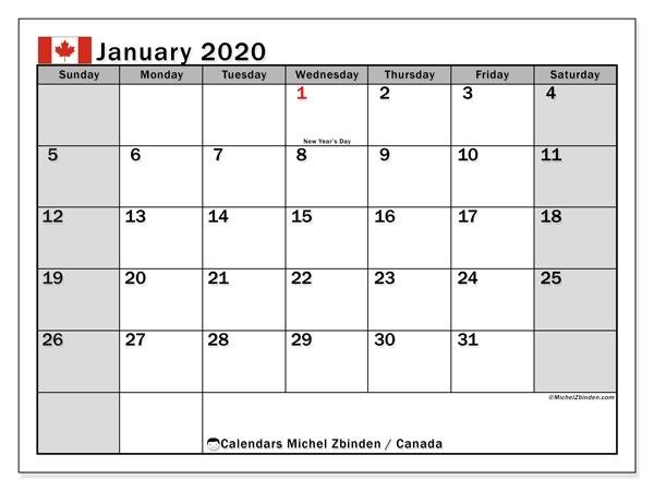 January 2020 Calendar Canada