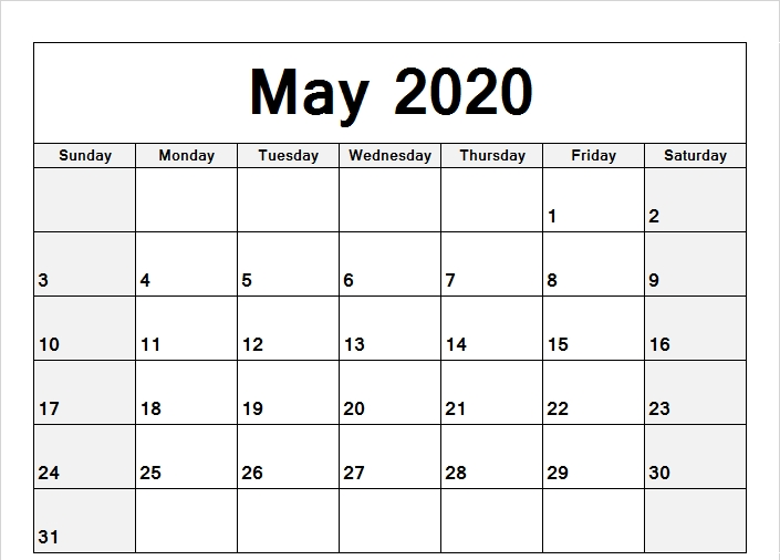 May Calendar 2020 Printable Notes List