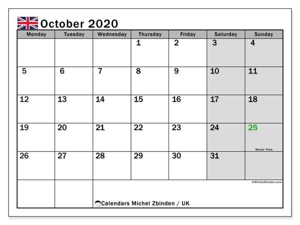 October  2020 Calendar Uk