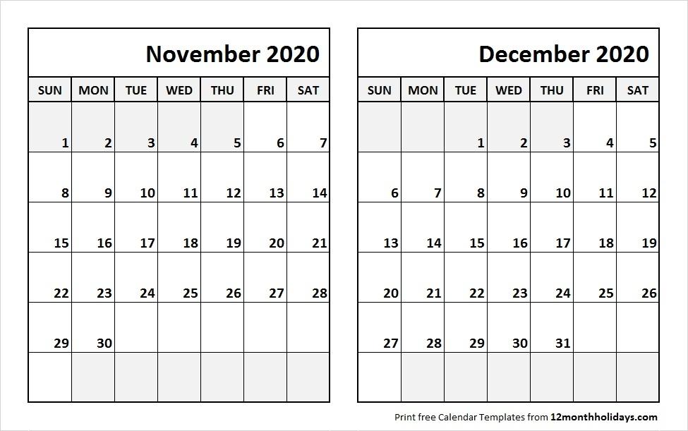 November December  2020 Calendar