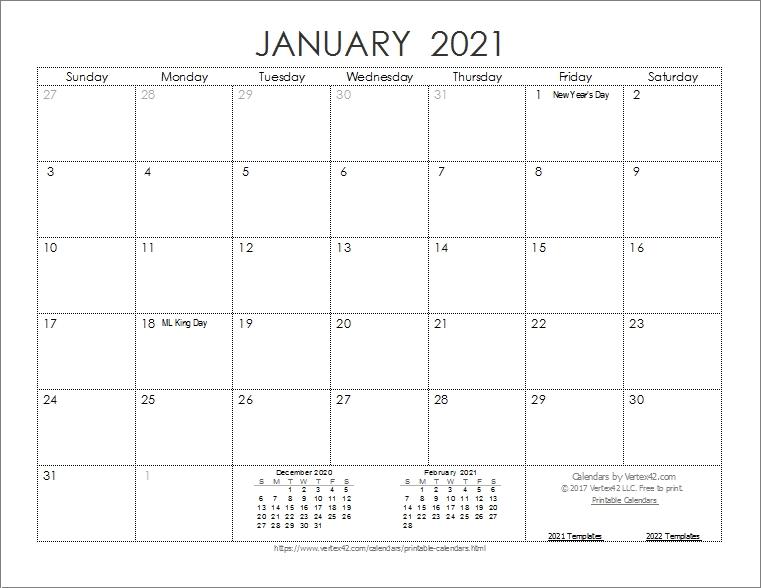2021 Calendar By Month Printable