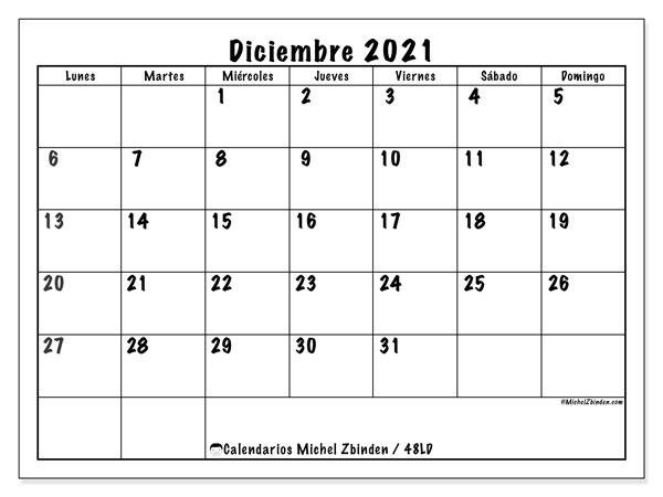 Calendario Diciembre 2020 A Marzo 2021