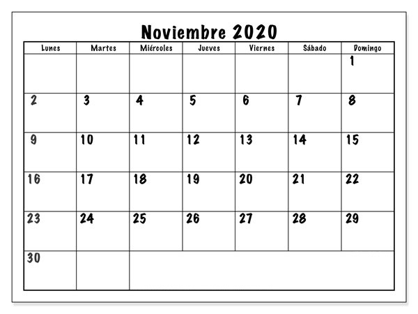 Modelo Calendario Noviembre 2020