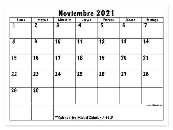 Calendario Noviembre 2021 (48Ld) – Michel Zbinden Es