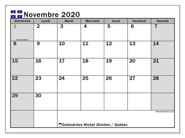 Calendrier Novembre 2020 A Imprimer