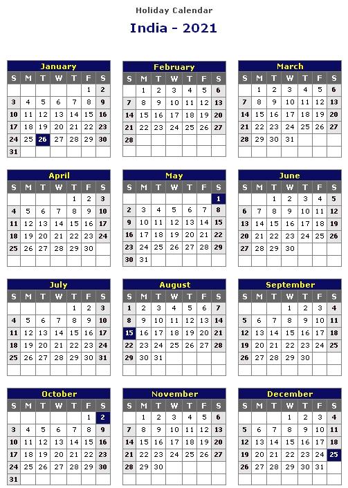 Calendar 2021 India Holidays