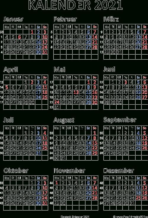 Kalender 2021 Deutschland   Pdf Drucken Kostenlos   Qualads
