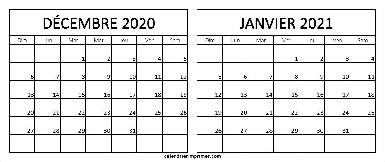 Calendrier Decembre 2020 Janvier 2021