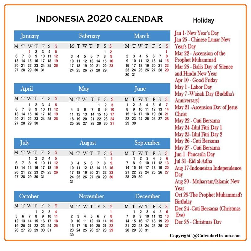 Indonesia 2020 Calendar