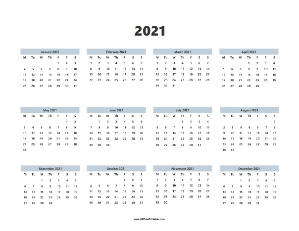 Yearly Calendar 2021 Free Printable