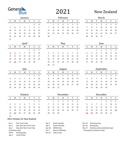 2021 Calendar – New Zealand With Holidays