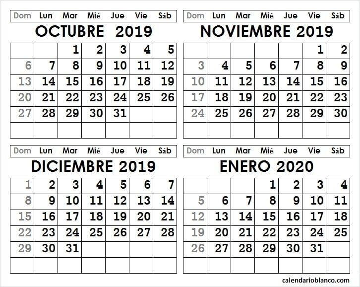 Calendario Octubre Noviembre Diciembre 2019 Enero 2020 Para