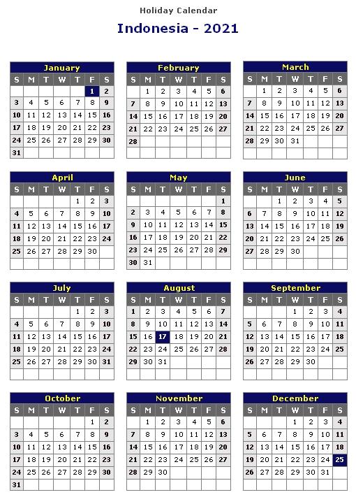Calendar 2021 Indonesia Holidays