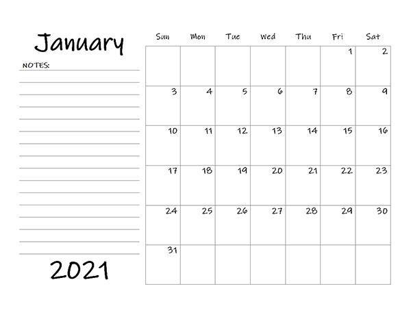Calendar 2021 Blank