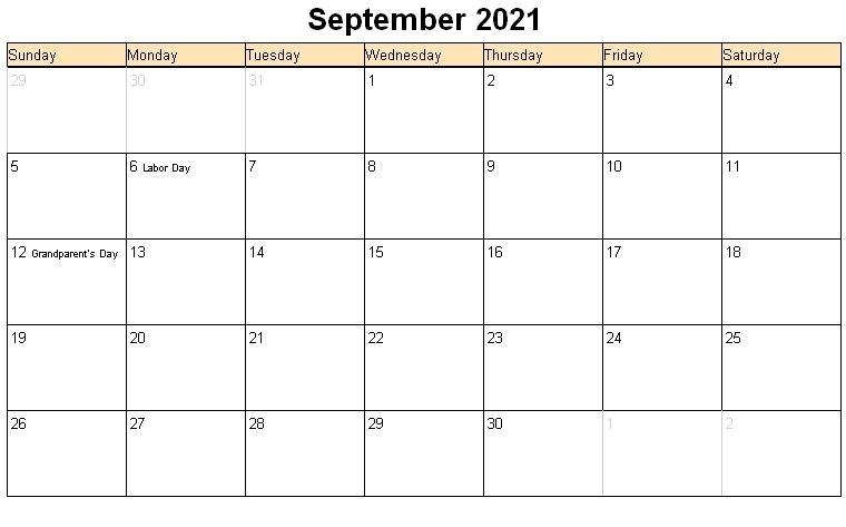 September 2021 Printable Calendar « Printable Hub