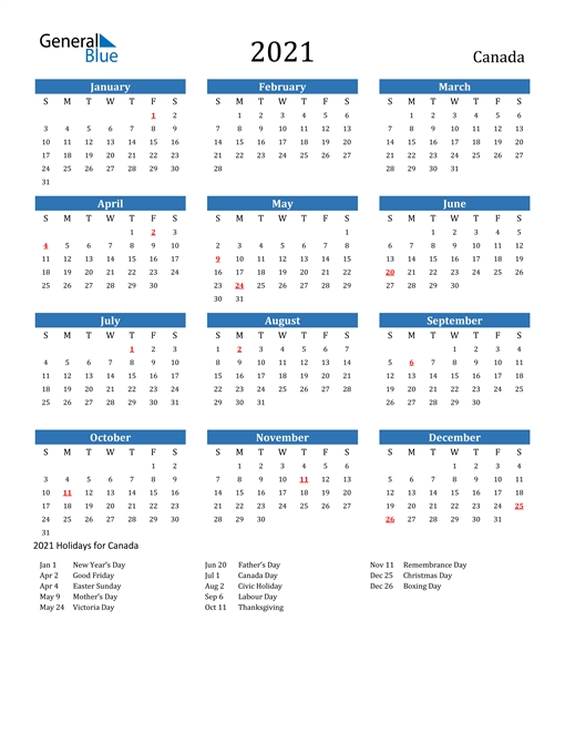 2021 Calendar Printable With Holidays