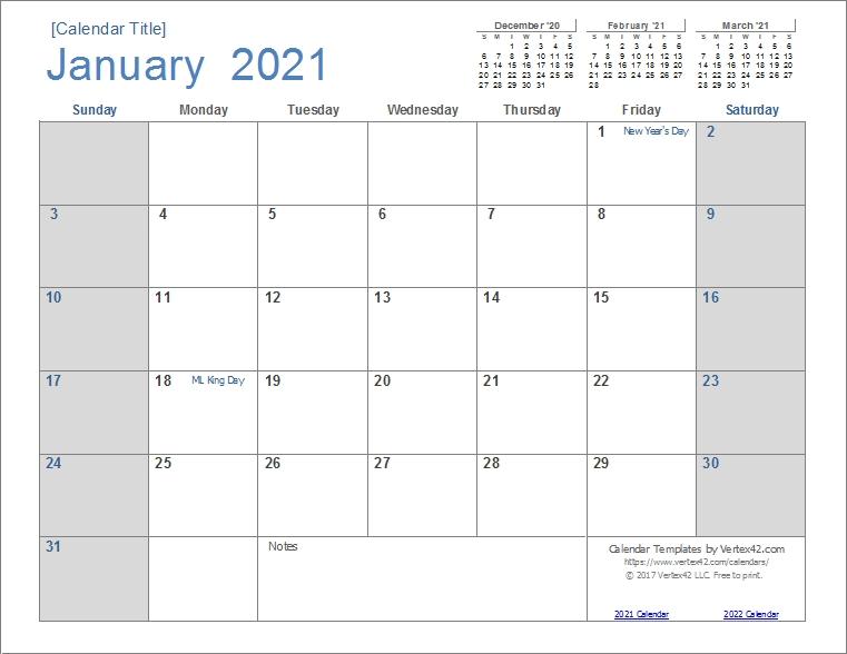 2021 Monthly Calendar Google Sheets