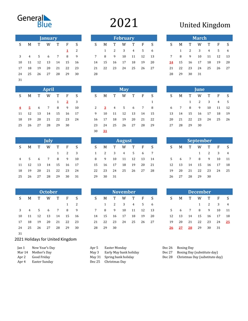 Yearly Calendar 2021 With Uk Holidays