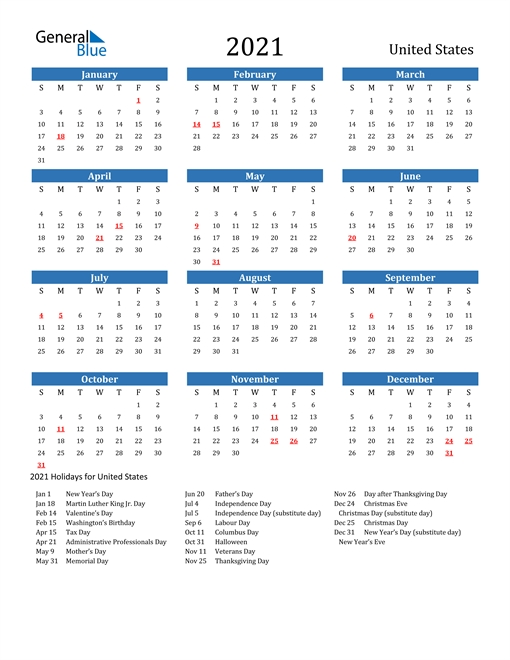 2021 Calendar – United States With Holidays