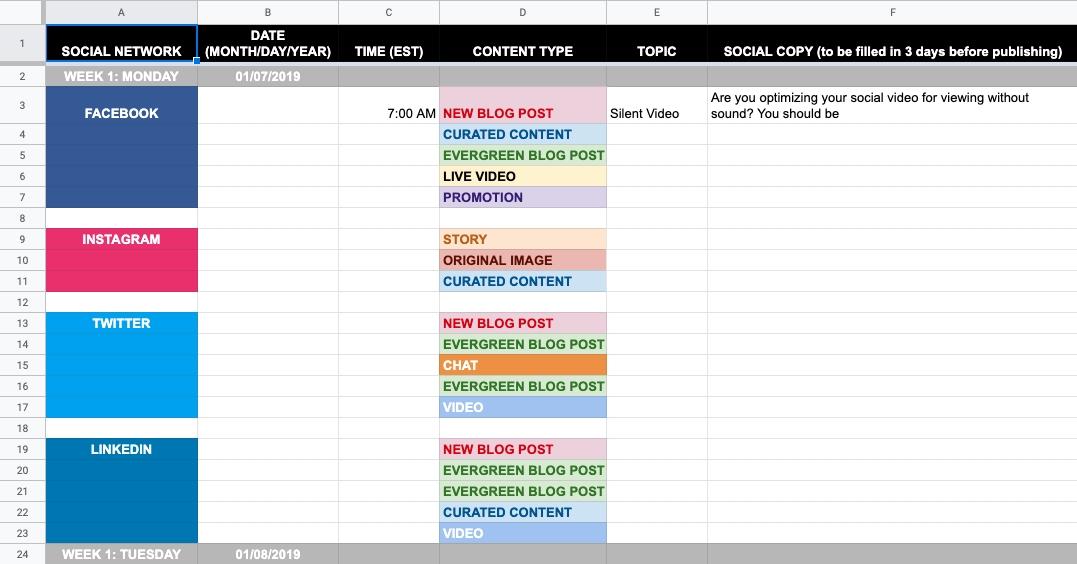 Template Content Calendar