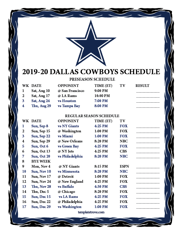 Dallas Cowboys Printable Schedule 2020 2020
