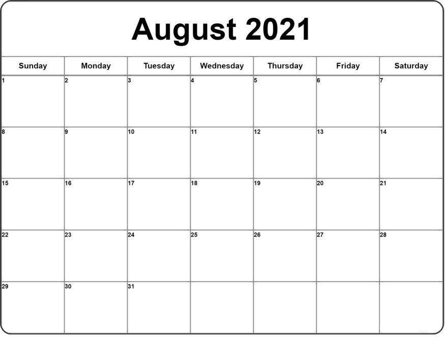 September 2021 Monthly Calendar Template