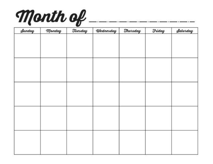Free Pdf Calendar Template